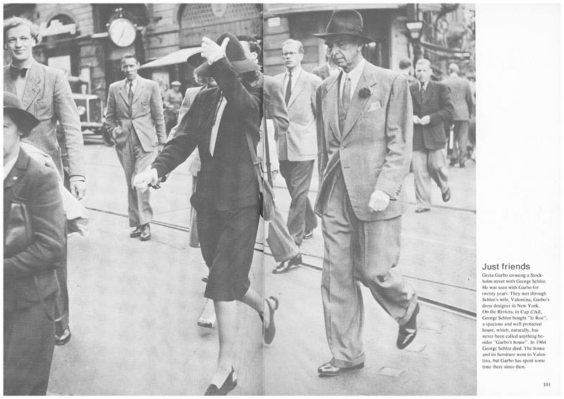 Greta Garbo crossing a Stockholm street with George Schlee.